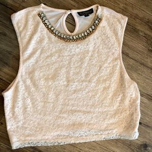Light Pink Lace Topshop Crop Top with Beaded Neck